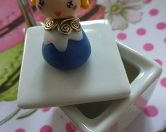 Porcelain jewelry box empty tooth Pocket material girl kawaii chibi Alice Délice polymer clay