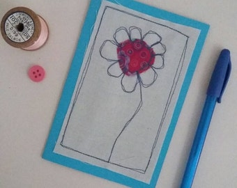 Greeting card, flower card, birthday card, embroidered card, card, hello, friend, embroidery, flower, blue, handmafe, for her