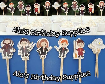 24 Pc Harry Potter Cupcake Toppers Double Sided Birthday Party Supplies