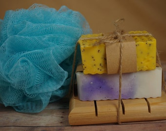 Soap -Gift Set- Natural Soap and Soap Dish with Bath Poof