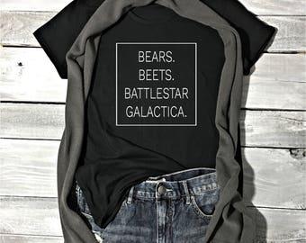 Bears Beets Battlestar Galactica T-Shirt, Dwight Schrute, The Office Shirt, Michael Scott, TV and Movie Shirts