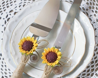 Sunflower Wedding Cake Cutting Set, Sunflower Rustic Wedding Serving Set, Sunflower Cake Set, Sunflower Cake Serving Knife Set, Cake Cutter