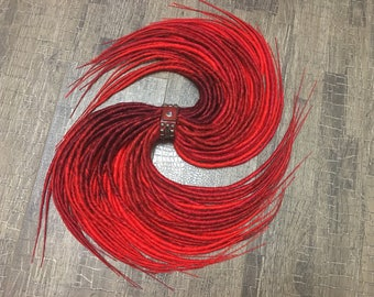 Red maroon raspberry ombre dreads x10 or FULL SET Single OR Double Ended Synthetic Dreadlocks Hair Extensions Dreads Fall