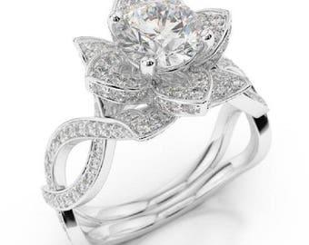 Forever One Moissanite Lotus flower Engagement Ring 14k White Gold