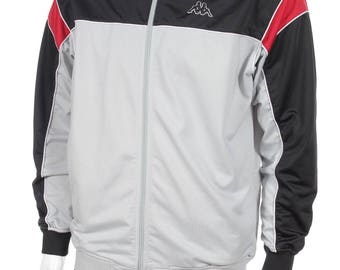 Vintage  Kappa Windbreaker Tracksuit Top Jacket   Black/red/gray  Size XL
