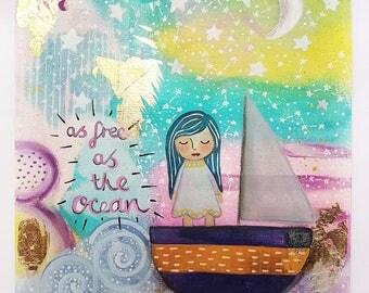 Girls room art - Girl in boat art - Original artwork - Nursery art print - Girls room decor - Nursery art - Whimsical painting - Wall art