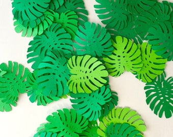 Complete your Jungle theme Birthday Party, Safari Theme Party, Tropical theme decor with Jungle Monstera Leaf Confetti.