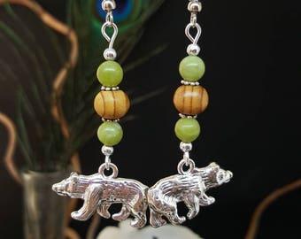 Nature & Bears - wood - jade - bear - nature - California - canada - Native American - sioux - Bohemian - hippie - gypsy earrings