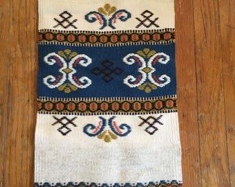 Vintage Norwegian Woven Wool Wall Hanging With Fringe and Scandinavian Design