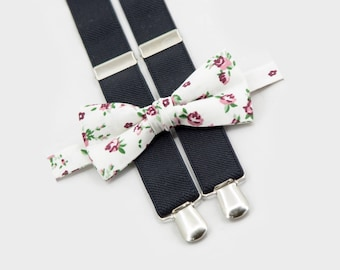 floral bow tie and black suspenders, boys wedding outfit, groomsmen bow tie suspenders