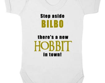 STEP Aside BILBO/FRODO There's A New Hobbit In Town - New Bodysuit/Baby Grow/Onesie/Vest, Newborn Gift, Baby Shower, Lord Of The Rings