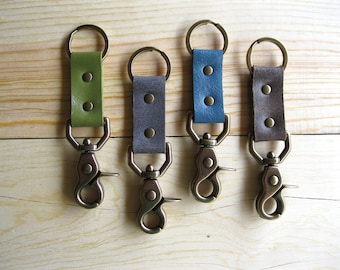Leather and Brass Keychain - Solid Brass Lobster Clasp and Keyring. Groomsman Gift