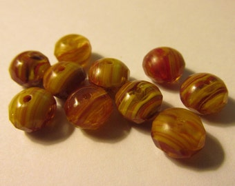 Faceted Mini Czech Glass Beads with Stripes, 8mm, Set of 10