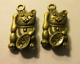 "Bronze Finish ""Maneki Neko"" Good Fortune Money Cat Charms, 22mm, Set of 2"