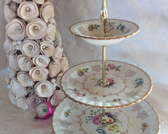 Alpine white Avon 3 tier cake stand serving cake plate Wood and sons
