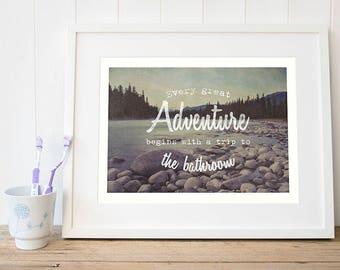 Lake house decor new-home-gift Gift-for-couple Wanderlust washroom print Rustic travel adventure awaits washroom wall art Gift-washroom art