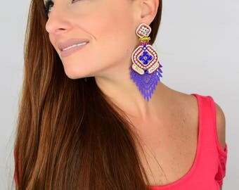 Colorful Earrings, Fashion Jewelry,  Long Earrings, Lace Earrings, Chandelier Earrings, Handmade Earrings, Statement Earring
