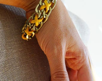 Chunky chainlink bracelet yellow braided bohemian bracelet metal chain ochre yellow bracelet girlfriend jewerly ideas wife statement jewelry