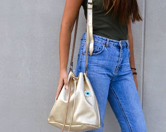 Crossbody Bag, Leather Bucket Bag, Laptop Bag, Leather Pouch, Made from 100% Cowleather In Greece by Christina Christi Jewels.