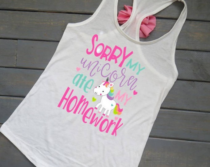 Unicorn Ate My Homework Tank, Girls' Unicorn Shirt, Unicorn Birthday, Gifts For Girls, Funny Girls' Clothing, Girls' Summer Tank