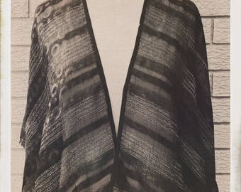 Womens Hand Made Wrap Poncho Shawl Jacket Black Striped Sheer Linen