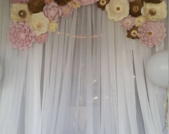 25 piece Paper Backdrop Flowers-Baby Shower decor, Wedding backdrop decor, Photo backdrop