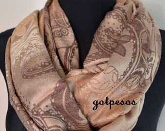 Pashmina Snood, infinity Scarf, loop scarf, circle scarf, Paisley Pashmina Shawl, infinity pashmina, beige and brown pashmina scarf