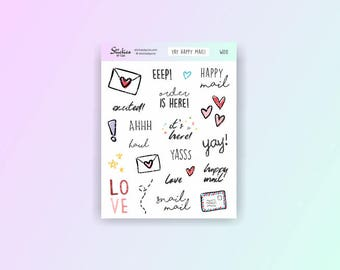 Happy Mail Stickers / planner stickers, mail stickers, word stickers, hand drawn stickers, fun stickers, mail day stickers / WD8