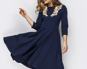 Spring Dress fall pin up Midi dress navy blue Office dress Casual womens dress 3/4 sleeve Flared dress Jersey dress pink Applique dress