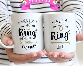 Engagement Mugs, Engagement Mug Set, Engagement Mug, Engagement Gifts for Couple, Engagement Gifts for Best Friend, Couple Mugs