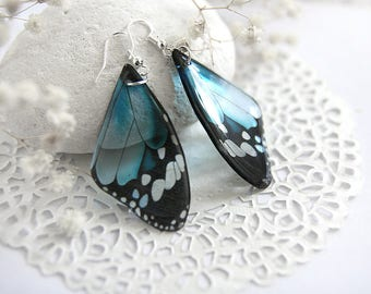 Baby blue earrings Butterfly jewelry Resin earrings Silver jewelry Bohemian earrings for women Fairy accessories Gypsy earrings Organic gift