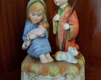 Lefton China Holy Family Music Box Plays Silent Night