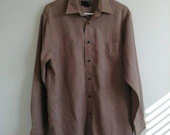 Vintage Distressed Grid Dress Shirt