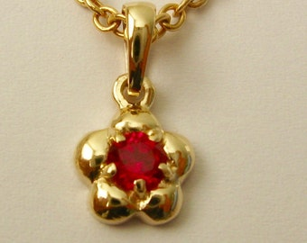 Genuine SOLID 9K 9ct Yellow GOLD July Birthstone Daisy Ruby Pendant