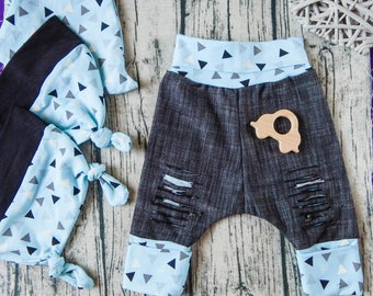 Baby Jeans Clothing Set, Pixie Hat, Take Home Outfit, Newborn Clothing Set, Baby Shower Gift, Baby Boy Gift, Newborn Gift, Baby Boy Clothes