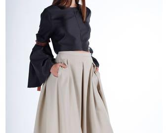 Winter Skirt, Women Skirt, Midi Skirt, Plus Size Skirt, Beige Skirt, High Waist Skirt, Boho Skirt, Cotton Skirt, Plus Size Clothing
