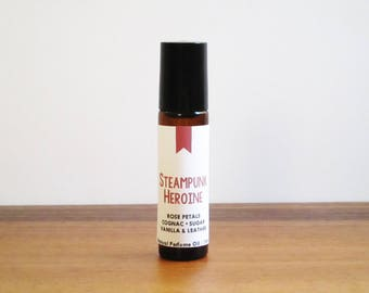 STEAMPUNK HEROINE / Rose Petals Cognac Sugar Vanilla & Leather / Book Inspired / Genre Collection / Roll-On Perfume Oil