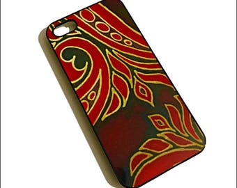 iPhone 5 Hard Cover - iPhone 5 Skin - iPhone 5 Protective Case - Black & Red Scrolls - Business Gift for Her - Dramatic Silk Painting Print