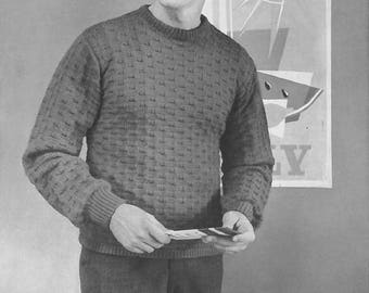Vintage Men's Pullover Rectangles Sweater Knitting Pattern PDF 1954