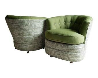 Mid-Century Barrel Chairs, Vintage Club Pair, Swivel Base