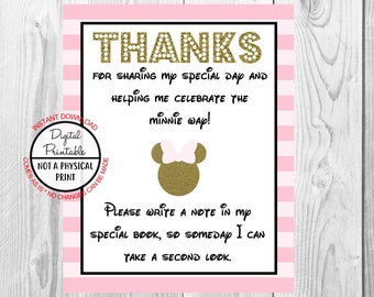 "Thanks For Sharing My Special Day Sign, Minnie Mouse Birthday Party Sign, 8""x10"" Printable, Instant Download, Gold & Pink Sign"