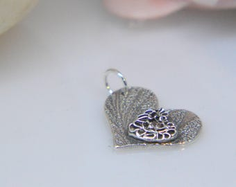 Elegant Silver Pendant, valentines heart, love heart, classic, silver necklace, delicate, filigree, sparkle, mothers day, valentines day