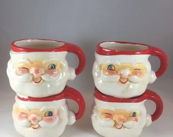 Vintage Santa Mugs - Holt Howard Mugs - Vintage Christmas - 1960s Christmas - Vintage Mugs - Winking Santa Mugs - Vintage Santa