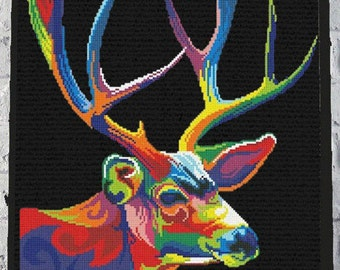 Modern cross stitch pattern rainbow cross stitch pattern animal cross stitch pattern deer cross stitch pattern cross stitch pattern pdf