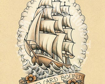 Homeward bound. Old School Tattoo print.