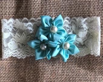 Turquoise and Cream Lace Baby Headband