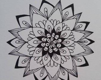Hand drawn Mandala greeting card