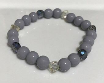 Gray Handmade Beaded Bracelet with Perriwinkle and Clear Accents