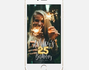 LIMITED TIME! Snapchat Geofilter Birthday, Snapchat Birthday Geofilter, 25th Birthday Gift for Her, Birthday Filter, Gold Balloons bir123