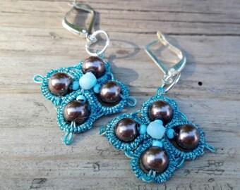 Topaz Blue Earrings, Victorian Earrings, Prom Earrings, Art Deco Earrings, Cute Earrings, Tatting Lace, Frivolite, Blue Lace Earrings